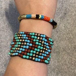 Jewelry - Beaded multicolored boho elastic bracelets set
